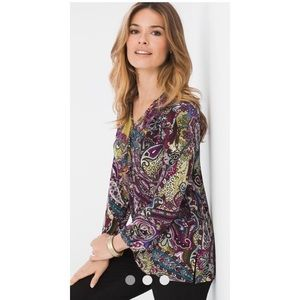 NWOT Chico's Sublime Paisley Ruffle Top Size 1